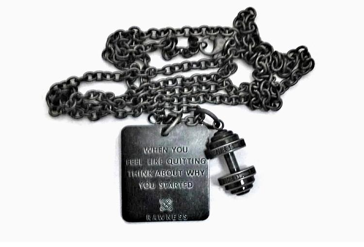 Barbell & Dog Tag Necklace